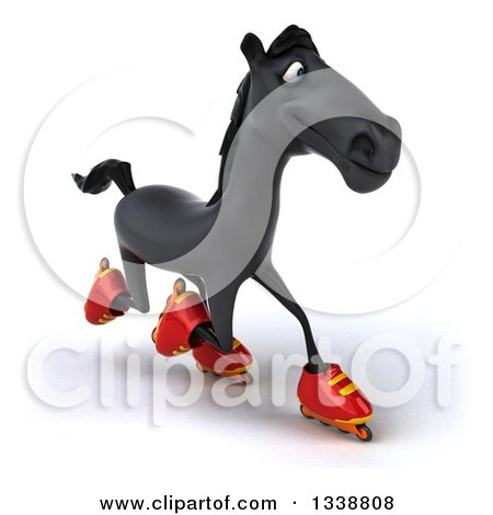 Clipart of a 3d Black Horse Roller Blading to the Right 2 - Royalty Free Illustration by Julos