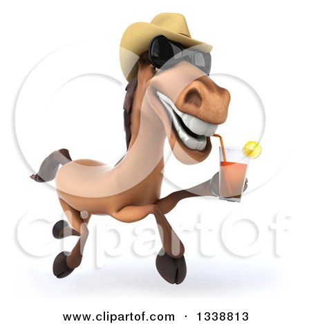 Clipart of a 3d Brown Cowboy Horse Wearing Shades, Running and Drinking Tea - Royalty Free Illustration by Julos