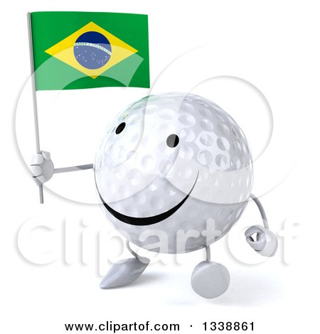 Clipart of a 3d Happy Golf Ball Character Holding a Brazilian Flag and Walking Slightly to the Left - Royalty Free Illustration by Julos