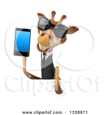 Clipart of a 3d Business Giraffe Wearing Sunglasses and Holding a Smart Cell Phone over a Sign - Royalty Free Illustration by Julos