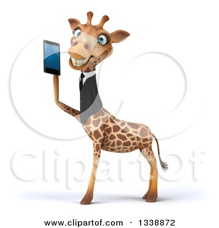 Clipart of a 3d Business Giraffe Facing Left and Holding a Smart Cell Phone - Royalty Free Illustration by Julos