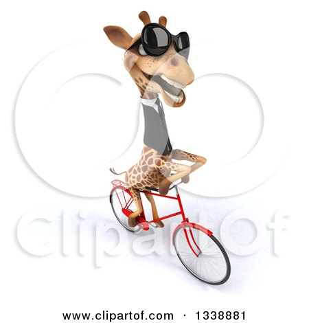 Clipart of a 3d Business Giraffe Wearing Sunglasses and Riding a Bicycle to the Right 2 - Royalty Free Illustration by Julos