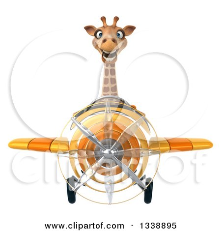 Clipart of a 3d Aviator Giraffe Flying a Yellow Airplane - Royalty Free Illustration by Julos