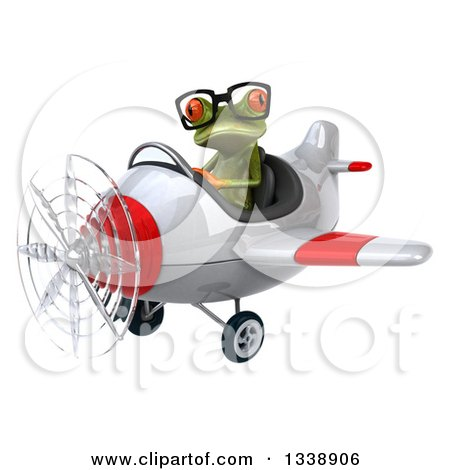 Clipart of a 3d Bespectacled Aviator Green Springer Frog Flying a White and Red Airplane 2 - Royalty Free Illustration by Julos