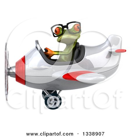 Clipart of a 3d Bespectacled Aviator Green Springer Frog Flying a White and Red Airplane - Royalty Free Illustration by Julos