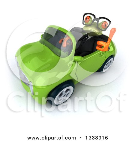 Clipart of a 3d Bespectacled Green Business Springer Frog Holding up a Thumb and Driving a Green Convertible Car - Royalty Free Illustration by Julos