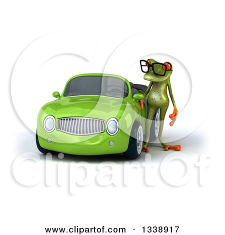 Clipart of a 3d Bespectacled Green Springer Frog Standing by a Yellow Convertible Car - Royalty Free Illustration by Julos