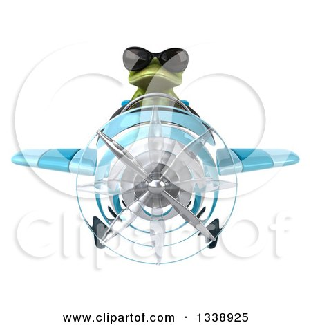 Clipart of a 3d Aviator Green Springer Frog Wearing Sunglasses and Flying a Blue Airplane - Royalty Free Illustration by Julos