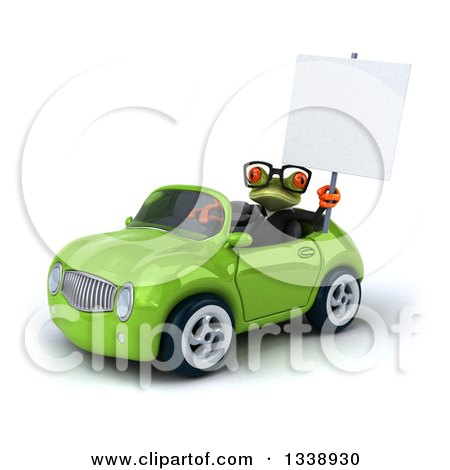 Clipart of a 3d Bespectacled Green Business Springer Frog Holding up a Blank Sign and Driving a Green Convertible Car - Royalty Free Illustration by Julos