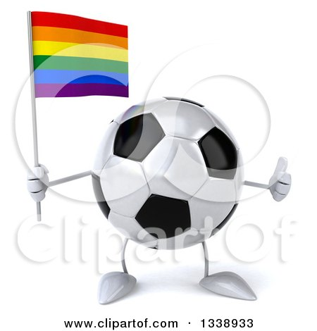 Clipart of a 3d Soccer Ball Character Holding a Rainbow Flag and Giving a Thumb up - Royalty Free Illustration by Julos