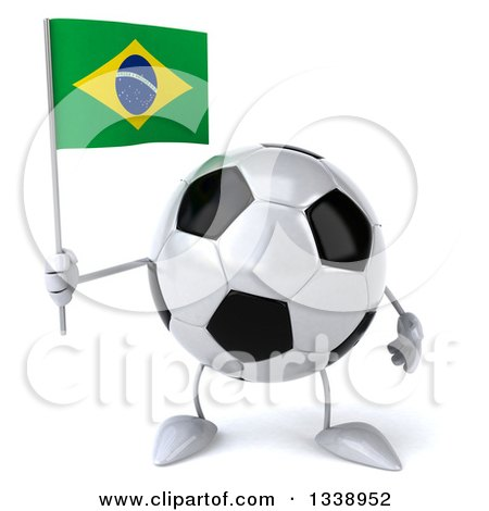 Clipart of a 3d Soccer Ball Character Holding a Brazilian Flag - Royalty Free Illustration by Julos