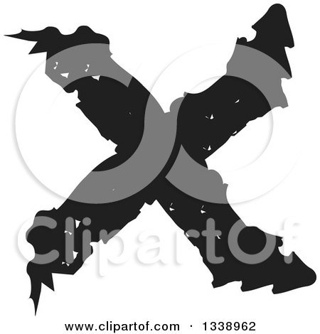 Clipart of a Black Grungy Negation X Mark App Icon Design Element - Royalty Free Vector Illustration by ColorMagic