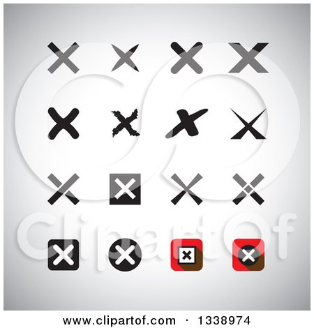 Clipart of Negation Rejection or No X Mark App Icon Design Elements on Shading - Royalty Free Vector Illustration by ColorMagic