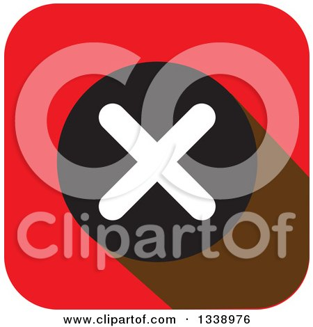 Clipart of a White Negation X Mark in a Black Circle on a Red Rounded Corner Square App Icon Design Element - Royalty Free Vector Illustration by ColorMagic