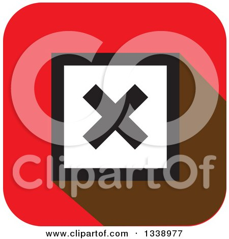 Clipart of a White and Black Negation X Mark in a Black Circle on a Red Square App Icon Design Element - Royalty Free Vector Illustration by ColorMagic