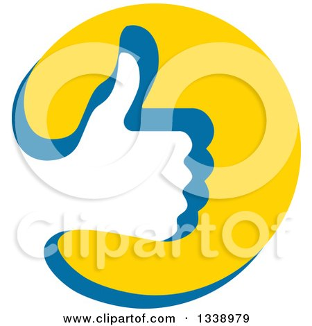 Clipart of a Thumb up like Hand Cutout in a Blue and Yellow Circle App Icon Design Element - Royalty Free Vector Illustration by ColorMagic