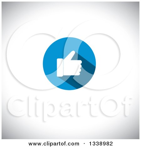 Clipart of a Flat Design White Thumb up like in a Round Blue App Icon Design Element over Shading - Royalty Free Vector Illustration by ColorMagic
