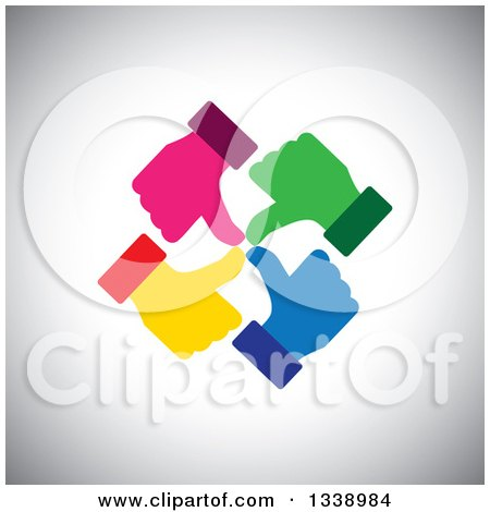 Clipart of a Circle of Colorful Thumb up like Hands over Gray Shading - Royalty Free Vector Illustration by ColorMagic