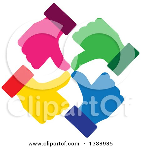 Clipart of a Circle of Colorful Thumb up like Hands - Royalty Free Vector Illustration by ColorMagic