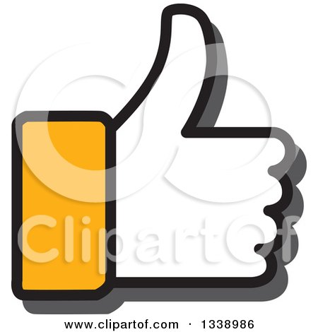 Clipart of a Yellow Cuffed Thumb up like App Icon Design Element - Royalty Free Vector Illustration by ColorMagic
