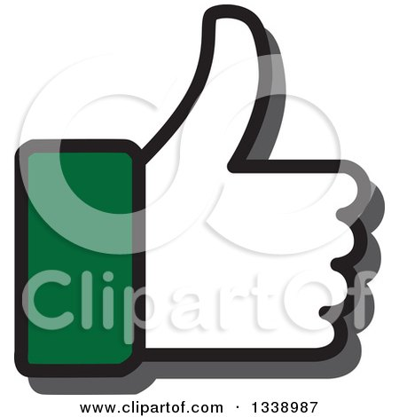 Clipart of a Green Cuffed Thumb up like App Icon Design Element - Royalty Free Vector Illustration by ColorMagic