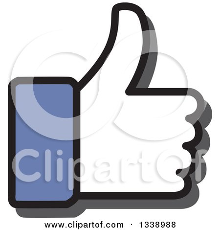 Clipart of a Blue Cuffed Thumb up like App Icon Design Element - Royalty Free Vector Illustration by ColorMagic
