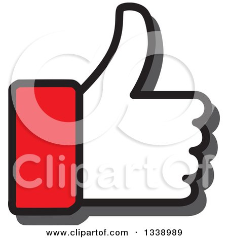 Clipart of a Red Cuffed Thumb up like App Icon Design Element - Royalty Free Vector Illustration by ColorMagic