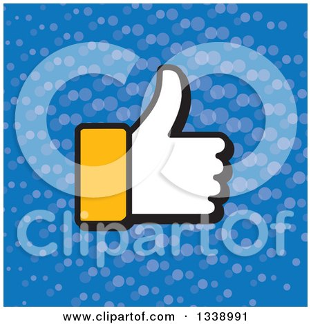 Clipart of a Yellow Cuffed Thumb up like Hand over Blue with Dots App Icon Design Element - Royalty Free Vector Illustration by ColorMagic