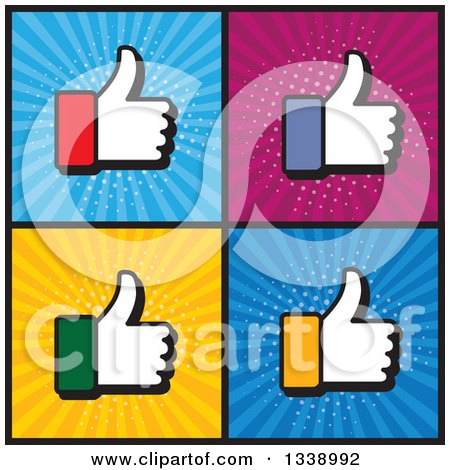 Clipart of Colorful Cuffed Thumb up like Hand App Icon Design Elements over Ray Squares - Royalty Free Vector Illustration by ColorMagic