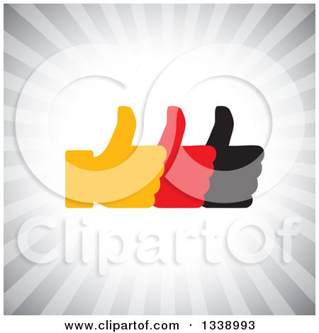 Clipart of Three Silhouetted Thumbs up like App Icon Design Element over Gray Rays - Royalty Free Vector Illustration by ColorMagic