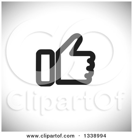 Clipart of a Black and White Thumb up like App Icon Design Element over Gray Shading - Royalty Free Vector Illustration by ColorMagic