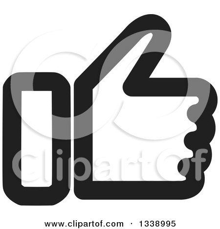 Clipart of a Black and White Thumb up like App Icon Design Element - Royalty Free Vector Illustration by ColorMagic