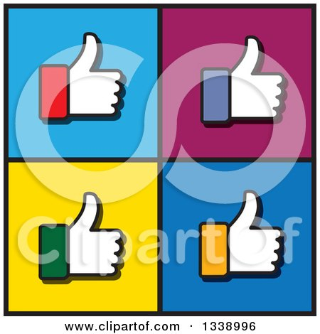 Clipart of Colorful Cuffed Thumb up like Hand App Icon Design Elements over Squares - Royalty Free Vector Illustration by ColorMagic