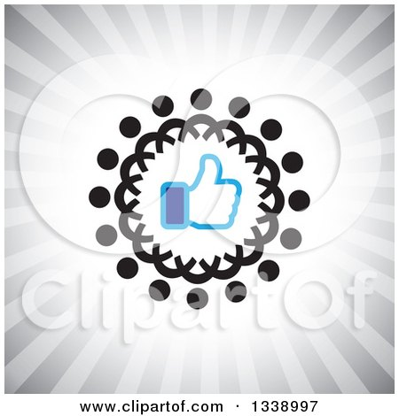 Clipart of a Blue Thumb up like App Icon Design Element in a Ring of Black Abstract People over Gray Rays - Royalty Free Vector Illustration by ColorMagic
