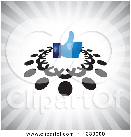 Clipart of a Shiny Blue Thumb up like App Icon Design Element in a Ring of Black Abstract People over Gray Rays - Royalty Free Vector Illustration by ColorMagic
