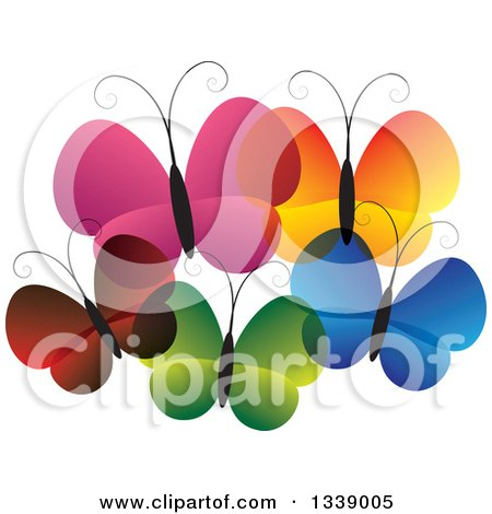 Clipart of a Family of Colorful Butterflies - Royalty Free Vector Illustration by ColorMagic