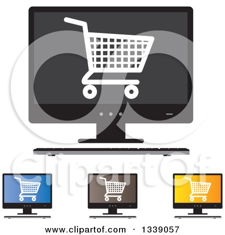 Clipart of Shopping Cart Checkout Icons on Desktop Computer Screens - Royalty Free Vector Illustration by ColorMagic
