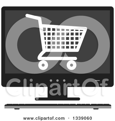 Clipart of a Shopping Cart Checkout Icon on a Desktop Computer Screen - Royalty Free Vector Illustration by ColorMagic
