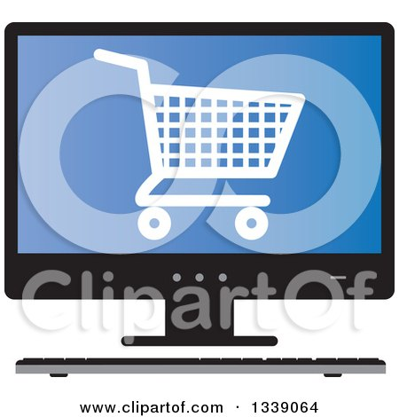 Clipart of a Shopping Cart Checkout Icon on a Blue Desktop Computer Screen - Royalty Free Vector Illustration by ColorMagic