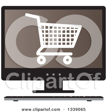 Clipart of a Shopping Cart Checkout Icon on a Brown Desktop Computer Screen - Royalty Free Vector Illustration by ColorMagic