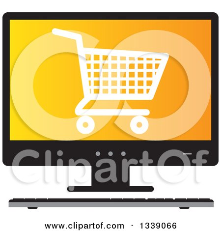 Clipart of a Shopping Cart Checkout Icon on an Orange Desktop Computer Screen - Royalty Free Vector Illustration by ColorMagic