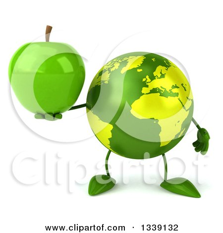Clipart of a 3d Green Earth Character Holding a Green Apple - Royalty Free Illustration by Julos