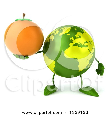 Clipart of a 3d Green Earth Character Holding a Navel Orange - Royalty Free Illustration by Julos