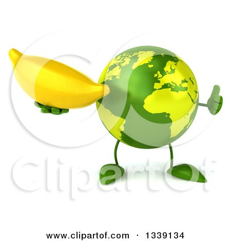 Clipart of a 3d Green Earth Character Giving a Thumb up and Holding a Banana - Royalty Free Illustration by Julos
