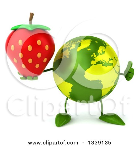 Clipart of a 3d Green Earth Character Giving a Thumb up and Holding a Strawberry - Royalty Free Illustration by Julos