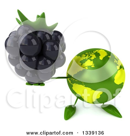 Clipart of a 3d Green Earth Character Holding up a Blackberry - Royalty Free Illustration by Julos