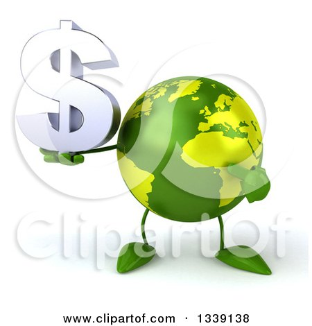 Clipart of a 3d Green Earth Character Holding and Pointing to a Dollar Currency Symbol - Royalty Free Illustration by Julos