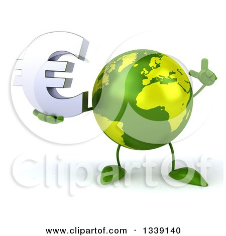 Clipart of a 3d Green Earth Character Holding up a Finger and a Euro Currency Symbol - Royalty Free Illustration by Julos