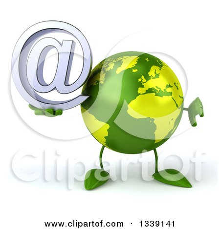 Clipart of a 3d Green Earth Character Giving a Thumb down and Holding an Email Arobase at Symbol - Royalty Free Illustration by Julos