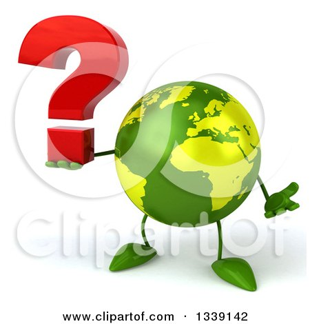 Clipart of a 3d Green Earth Character Shrugging and Holding a Question Mark - Royalty Free Illustration by Julos